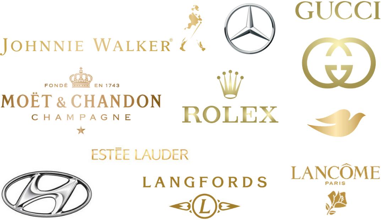 Metallic logos