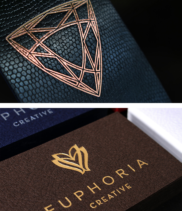 Premium, luxuriously textured business cards.